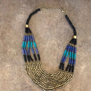 Jewelry - Necklace gold blue turquoise and black